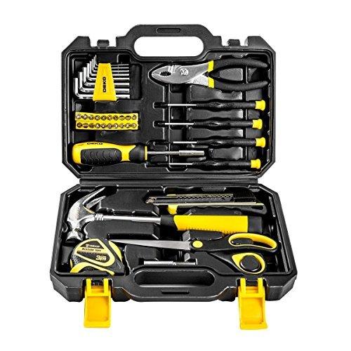 DEKOPRO 40-Piece Tool Set- General Household Hand Tool Kit with Plastic ToolBox Storage (Kit Tool Metric Set Compact)