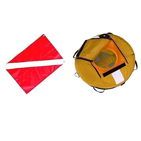 IPOTCH Boya de Apnea de Seguridad - Flotador Inflable de Agua con Bandera de Barco de