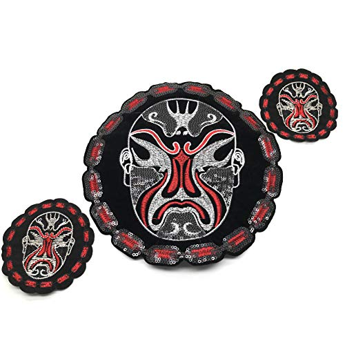 Chinese Peking Opera Facial Mask Patch, Fabric Embroidered Applique Iron On Sew On Emblem, Clothes Decals, Clothing Accessories, Clothes Hole Stickers (3Pcs) - Opera Mask Chinese