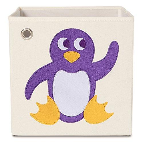 kaikai & ash Toy Storage Bins, Foldable Canvas Cube Box for Kids, 13 inch - Playful Penguin
