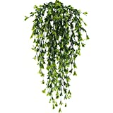 HUAESIN 2pcs Fake Vines Hanging Plants Artificial Greenery Faux Trailing Plants Climbing Vines for Indoor Outside Wedding Fence Balcony Garland Hanging Basket Decor