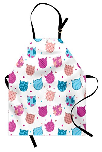 Teen Girls Apron by Ambesonne, Cat Heads Silhouettes with Stars Dots and Stripes Checked Patterns Patchwork, Unisex Kitchen Bib Apron with Adjustable Neck for Cooking Baking Gardening, Fuchsia - Cat Silhouette Head