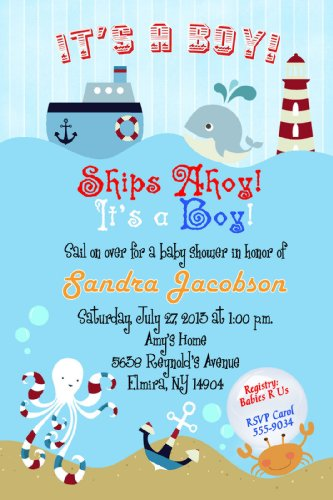 Cute Baby Shower Invitation Wording - cmsprints Sailboat Nautical Baby Shower Invitations
