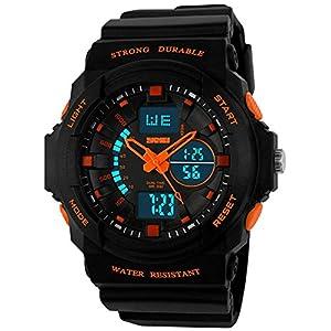 Fanmis Men's Womens Multi-Function Cool S-Shock Sports Watch LED Analog Digital Waterproof Alarm - Orange