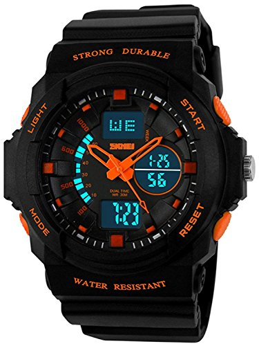 Mens Multifunction Analog - Fanmis Men's Womens Multi-function Cool S-shock Sports Watch LED Analog Digital Waterproof Alarm - Orange