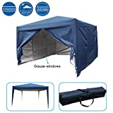 Quictent Privacy 8'x8' EZ Pop Up Party Tent Canopy Gazebo Mesh Curtain 100% Waterproof-7 Colors (Navy Blue)
