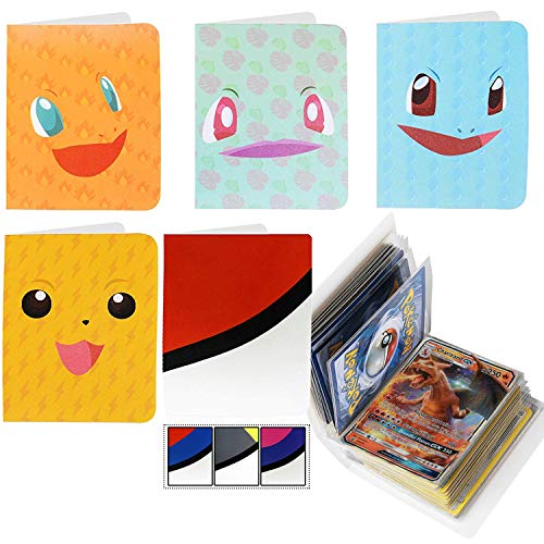 4 Mini Album for Pokemon Cards with 1 Pokeball Inspired Mini Binder - Sleeves Included - Protect Your Deck in Style - Featuring Favorite Pokemon Characters - Durable Perfect for Kids
