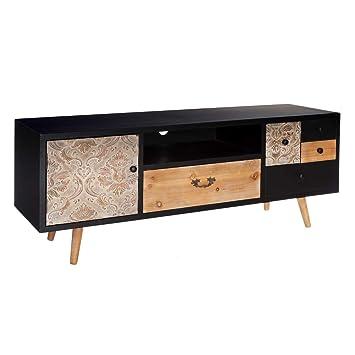 Mueble de TV Tallado de Abeto Negro Vintage para salón ...