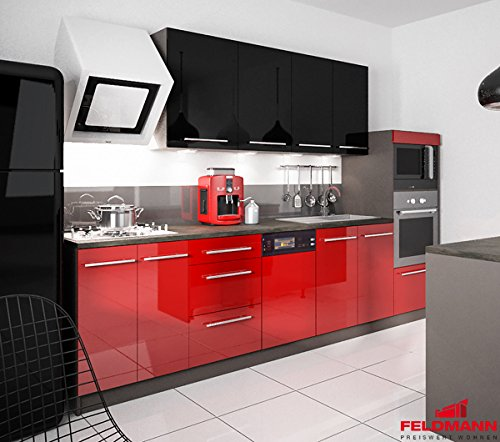 Küchenzeile 168893 Küchenblock 295cm lava / rosenrot + schwarz Hochglanz