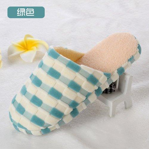 Y-Hui Bump zapatillas, zapatillas de algodón, cuadrado de color casa remolque algodón,3839,verde