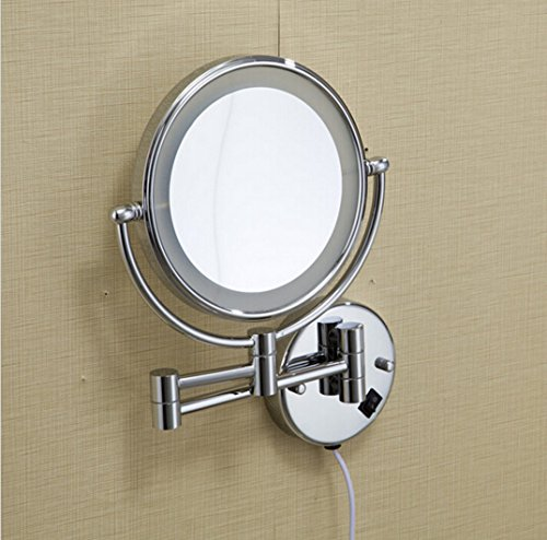Ohcde Dheark Hot Bathroom Chrome Wall Mounted 8 Inch Brass 3X/1X Magnifying Mirror Led Light Folding Makeup Mirror Cosmetic Mirror Lady Gift by Ohcde Dheark (Image #1)