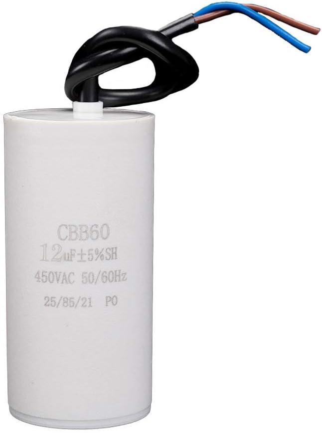 ICQUANZX 12uF CBB60 Condensador de Lavadora AC450V 50 / 60Hz Condensador de Arranque Lavadora Motor de Bomba (1PC)