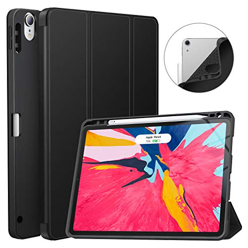 Soke iPad Pro 11 Inch 2018 Case with Pencil Holder, Premium Trifold Stand, Strong Protection,Support 2nd Gen Apple Pencil Charging,Auto Sleep/Wake, Soft TPU Back Cover for New iPad Pro 11
