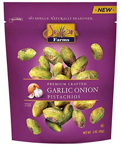 Setton Farms | No Shells | Premium Crafted Garlic Onion Pistachios, 3 oz | Pack Of 4 (Setton Farms Pistachios)