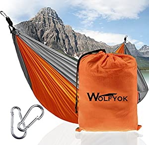 Portable Camping Single & Double Hammock - Wolfyok Lightweight Portable Nylon Hammock with Parachute Nylon Ropes and Solid Carabiners for Backpacking, Camping, Travel, Beach, Yard by Wolfyok