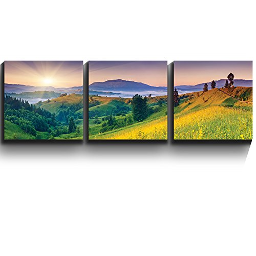 3 Square Panels Contemporary Art Sunset over lush green meadows in foothills Three Gallery ped Printed Piece x 3 Panels