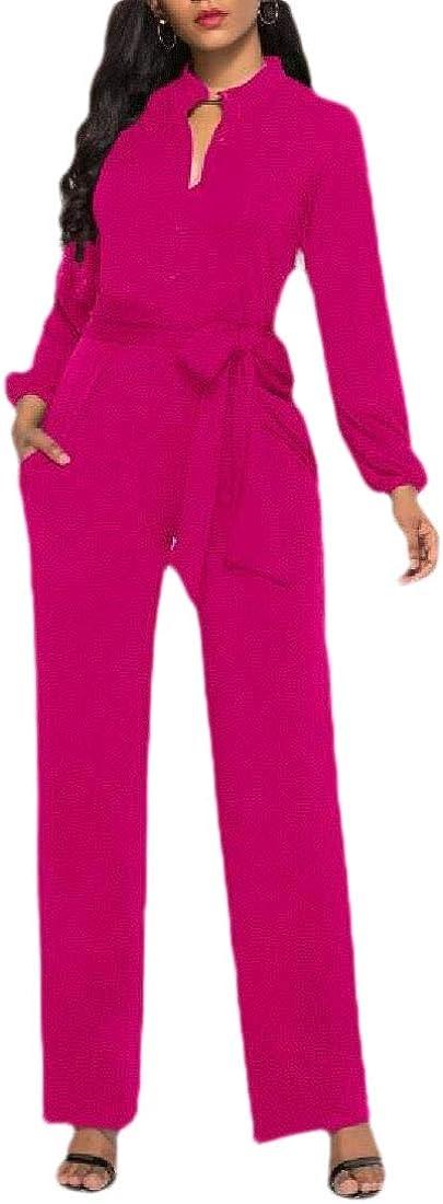 ZXFHZS Women Pants Jumpsuits Long Sleeve Button up Wide Leg Rompers