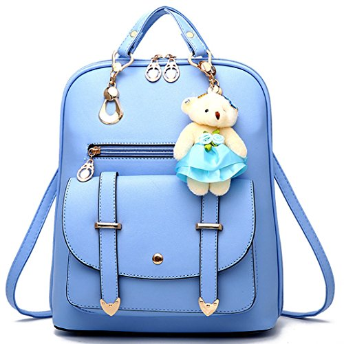 Backpack Purse for Women Large Capacity Cute Mini Backpack for Girls Pu Leather Bags,Light blue