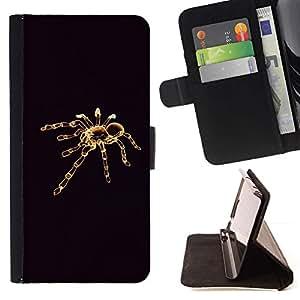 For Sony Xperia Z5 (5.2 Inch) / Xperia Z5 Dual (Not for Z5 Premium 5.5 Inch) Case , Tarantula minimalista Negro- la tarjeta de Crédito Slots PU Funda de cuero Monedero caso cubierta de piel