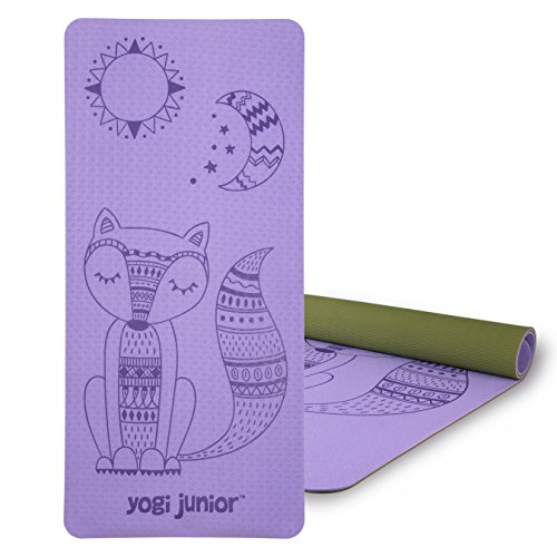 Yogi Junior Kids Yoga Mat - PVC Free - Double Layered TPE Foam (purple)