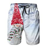 The Most Popular Style Red Hat Christmas Snowman Casual Elastic Summer Shorts For Mens