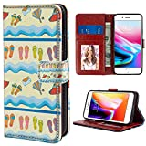 Wristlet Wallet Case Fit Apple iPhone 8 Plus/iPhone 7 Plus 5.5' Flip Flop Absurd Illustration of Sandy Beach with Flowing Sea Waves Straw Hats and Purse Multicolor for Women Case
