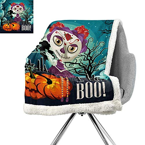ScottDecor Halloween Digital Printing Blanket,Cartoon Girl with Sugar Skull Makeup Retro Seasonal Artwork Swirled Trees Boo,Multicolor,for Bed/Couch/Chair in Livingroom or Bedroom W59xL78.7 Inch