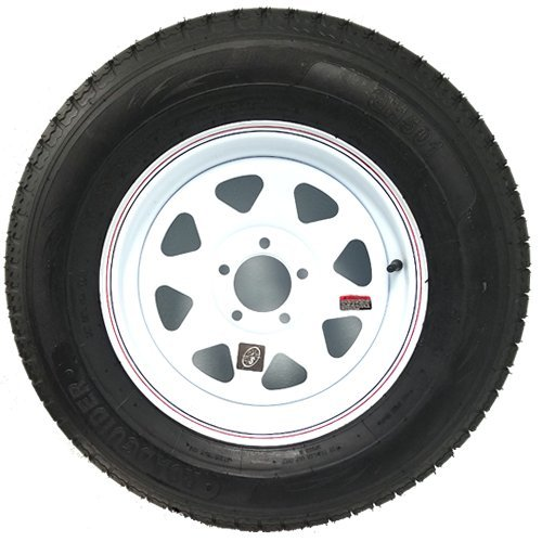 15'' x 5'' White Spoke Trailer with Red and Blue Pin Stripe Wheel with Radial TrailFinder ST20575R15C Tire Mounted (5-4.5'' Bolt Circle)