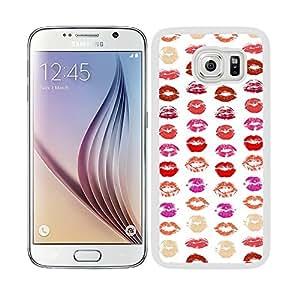 Funda carcasa TPU (Gel) para Samsung Galaxy S6 diseño estampado labios de colores borde blanco