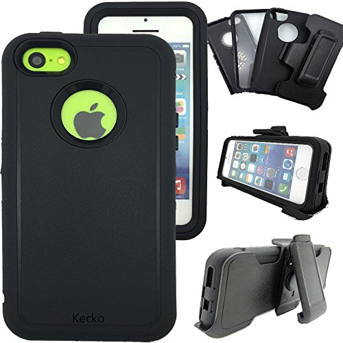 iphone 5c Defender Case,iphone 5c Shockproof Case with clip,Kecko Heavy Duty Shockproof Dirtproof Scratch Resistant Military Grade Case w/ Built-in Screen Protector for iphone 5C