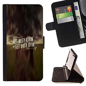 BullDog Case - FOR/Sony Xperia m55w Z3 Compact Mini / - / GET BUSY LIVIN' /- Monedero de cuero de la PU Llevar cubierta de la caja con el ID Credit Card Slots Flip funda de cuer