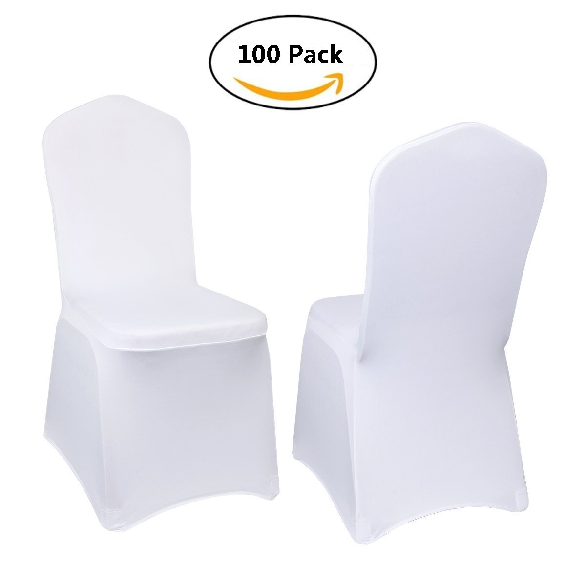 Stretch Polyester Spandex Dining Chair Cover for Wedding or Party Use,White (100)
