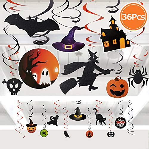 FLY2SKY 36PCS Halloween Decorations Swirl Ceiling Hanging Decoration Halloween Party Decorations for Kids Witch Bat Pumpkin Spider Skull décor ()