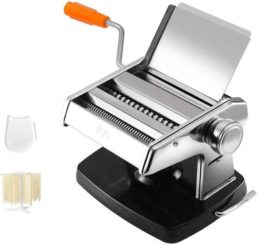 ZWH Máquina para Pasta Pasta Maker Machine, Mano De Manivela Máquina De Fideos Pasta Cutter Spaghetti Maker Herramienta De Multi Función De Acero Inoxidable (Color : Black, Size : Two Knives)