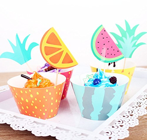 Pink Strawberry Cupcake (Yunko 12pcs Fresh Fruit Decorative Cake Toppers Muffin Cupcake Decorating Mold Tools Set Strawberry Pineapple Watermelon)