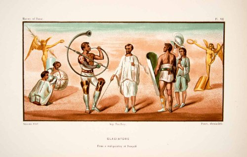 1890 Chromolithograph Ancient Roman Galdiators Costume Shield Weapon Archaeology - Original Chromolithograph