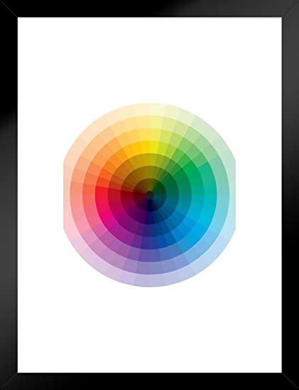 Poster Foundry Spectrum Color Wheel with Graduation from Black to White Art  Print Matted Framed Wall Art 20x26 inch