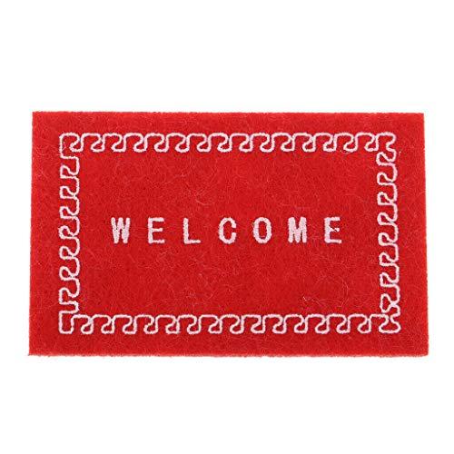 NATFUR 1/12 Floor Covering Rug Carpet Welcome Mat Dollhouse Front Door Decor Red from NATFUR