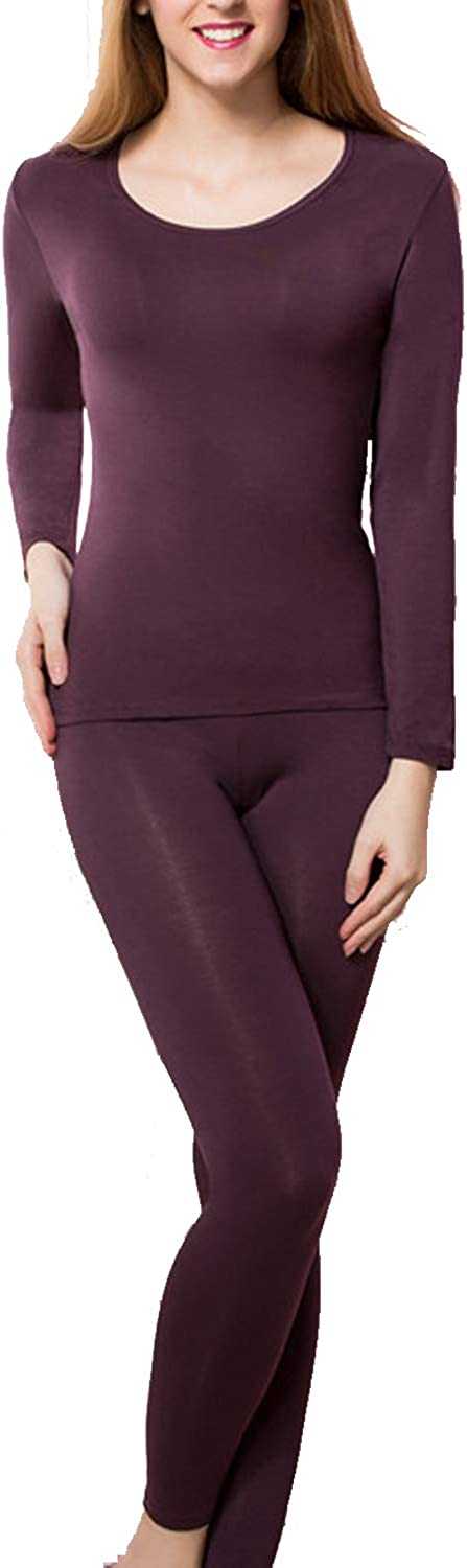wishpower Womens Scoop Neck Long Johns Ultra Soft Thin Thermal Underwear Set