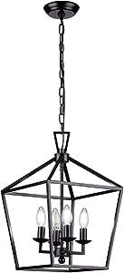 HUESLITE Farmhouse Chandelier, Vintage Foyer Lantern, 4 Light Pendant Light for Kitchen Island (Black)
