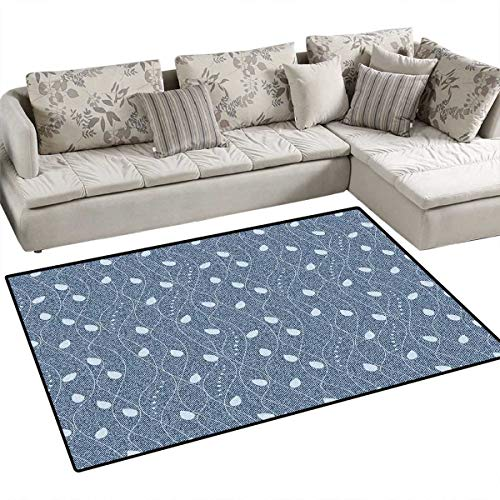 Mahal Slate - Leaves Door Mats Area Rug Branches Over Denim Background Contemporary Fashion Nature Mix Art Deco Bath Mat Non Slip 48