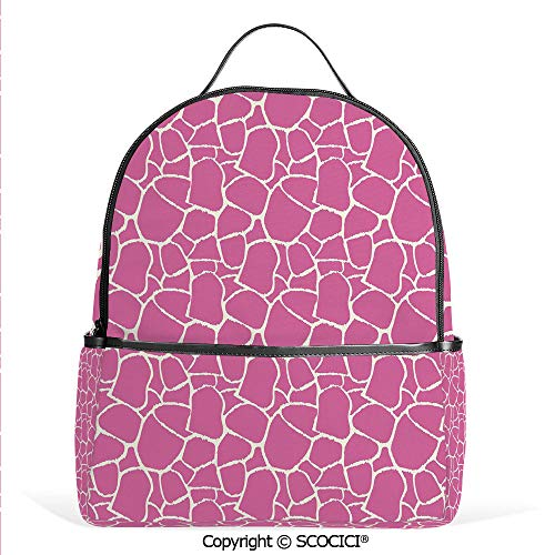 Hot Sale Backpack outdoor travel Abstract Giraffe Skin Pattern Vivid Color Exotic Animal Camouflage Safari Jungle,Pink White,With Water Bottle Pockets