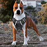 Big Dog Harness No Pull Adjustable Pet Reflective Oxford Soft Vest for Large Dogs Easy Control Harness (M, Black)