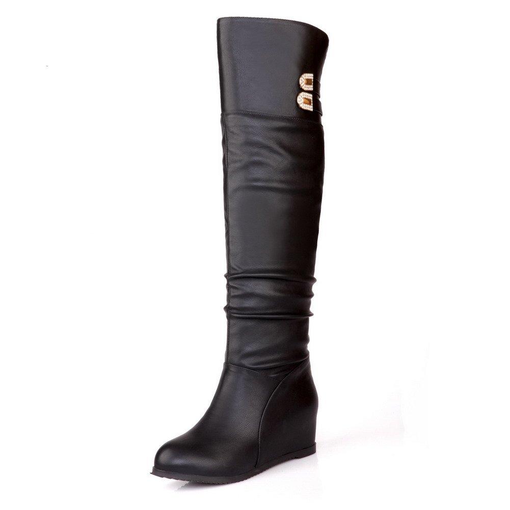 WeenFashion Women's Closed Round Toe Pu Kitten-Heels Pull-On Boots with Glass Diamond, Black-Pu, 35