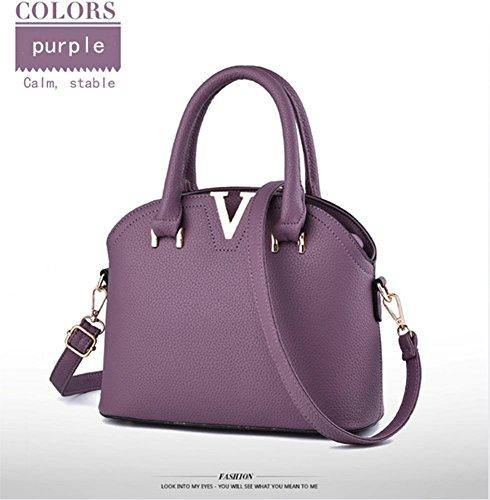 YJIUJIU Bolso De Hombro En Forma De V De La Mirada del Cuero Bolsos De La Manera De La Mano Superior Elegante del Diseño para Las Mujeres,Purple Purple