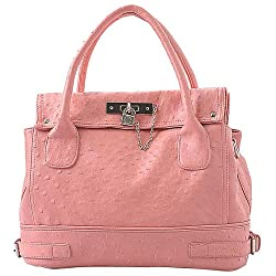 MG Collection CHIONE Ostrich Embossed Padlock Soft Office Tote Handbag