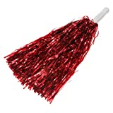 Ac2Shop Metallic Cheerleader Poms Dance Party Welcome Costume Streamer, Red