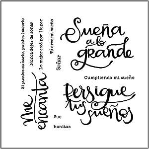 Angelliu - Sellos transparentes para manualidades con la palabra española de silicona, para álbumes de recortes, gofrado, papel decorativo, tarjetas artesanales: Amazon.es: Hogar