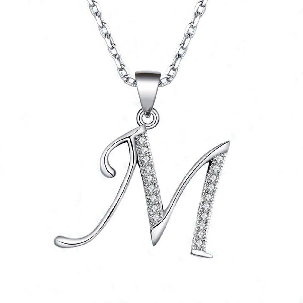 JUFU Fashion Jewelry 925 sterling silver 26 Alphabet Letter Pendant Necklace 18+2'' (Alphabe M)