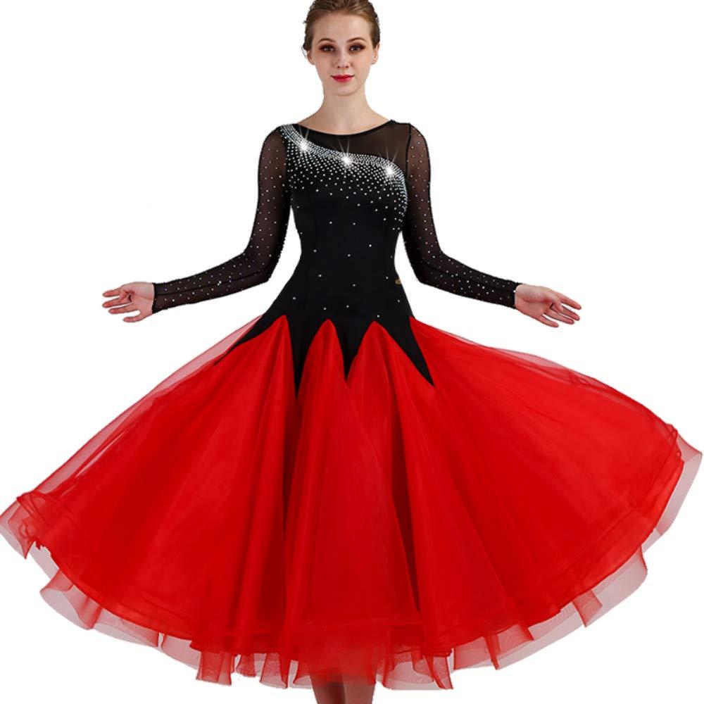 【ファッション通販】 現代のワルツタンゴパフォーマンスコスチューム滑らかな全国標準社交ダンスドレスコンペティションダンスの衣装グレートスイング B07PB9MKTG Large|Red B07PB9MKTG Large|Red Large Red Large, ホビーショップ遠州屋:e70c562f --- a0267596.xsph.ru